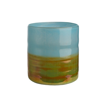 Low Horizon Vase - Aqua/Gold