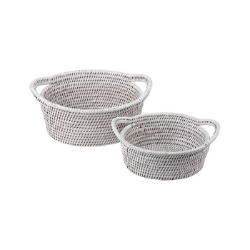 Oval Baskets - Set of 2 - White