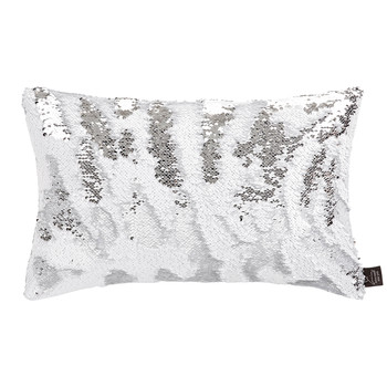 Two Tone Mermaid Sequin Cushion - White/Silver - 30x45cm