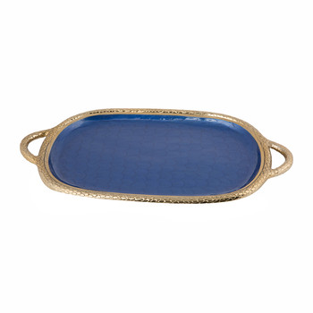 Florentine Gold Oval Tray with Handles - Sapphire