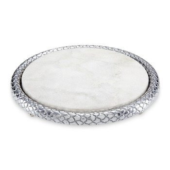 Florentine Marble Cheese Board - Silver