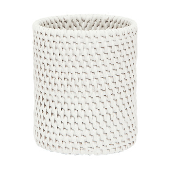 Dalton Rattan Toothbrush Holder - White