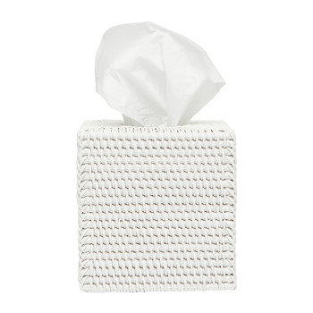 Dalton Rattan Tissue Box - White