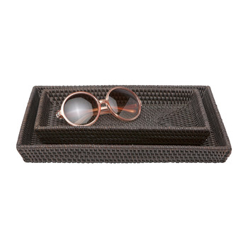 Dalton Rattan Tray Set - Coffee