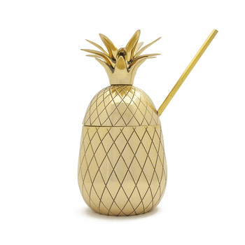 Brass Pineapple Tumbler with Straw