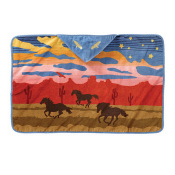 Printed Hooded Children's Towel - Wild Horses