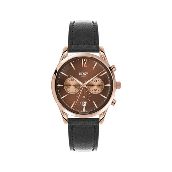 Harrow Black Leather Strap Watch with Trio Dial