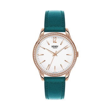 Stratford Teal Leather Strap Watch with Crystals