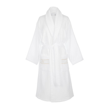 Gold Shawl Bathrobe - White
