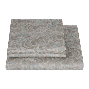 Peacock Duvet Set - Grey
