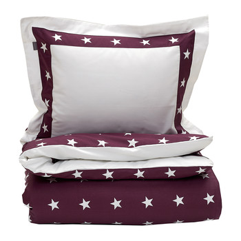 Star Border Duvet Cover - Purple Fig