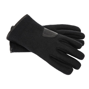 Men's Fabric Gloves with Leather Trim - Black