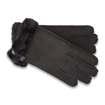 Women's Tenney Gloves with Leather Trim - Black
