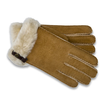 Women's Tenney Gloves with Leather Trim - Chestnut