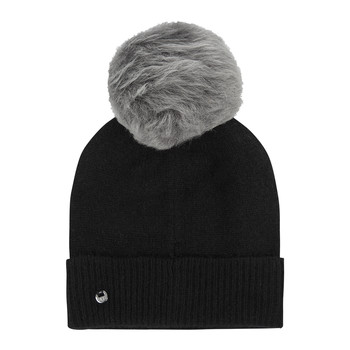 Women's Luxe Cuff Hat with Oversized Pom - Black