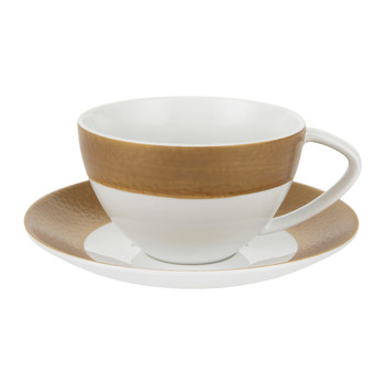 Port Cros Golden Porcelain Teacup & Saucer