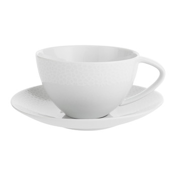 Port Cros White Porcelain Teacup & Saucer