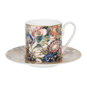 Golden Flowers Coffee Cup & Saucer