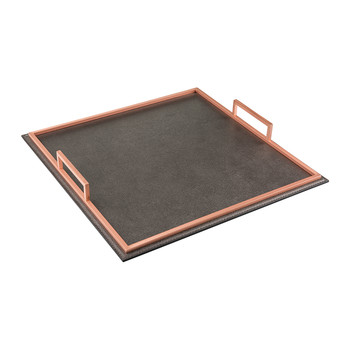 Meden Square Leather Tray - Titanium Golf