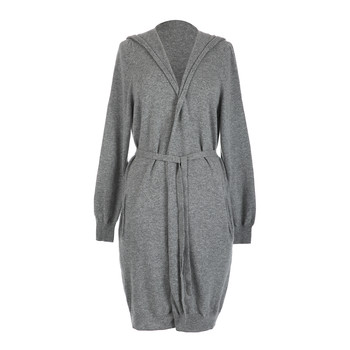 Leven Cashmere Hooded Cardigan - Light Gray