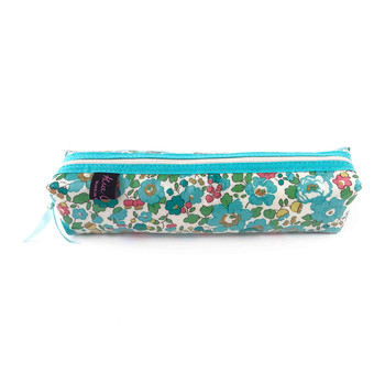 Box Pencil Case - Liberty Betsy Turquoise