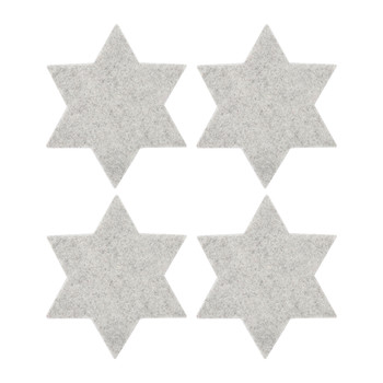 Merino Wool Star Coaster - Set of 4 - Gray