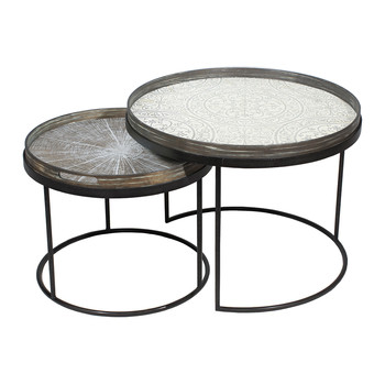 Round Nesting Tray Table Set