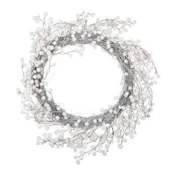 Berry Wreath - Silver/White