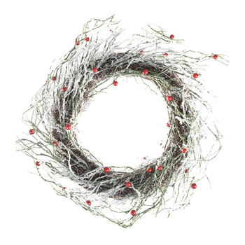 Snow Berry/Twig Wreath - Brown