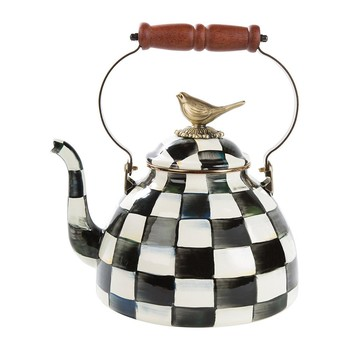 Courtly Check Enamel Tea Kettle with Bird