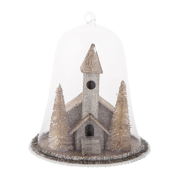 Vintage Church in Glass Dome Christmas Decoration