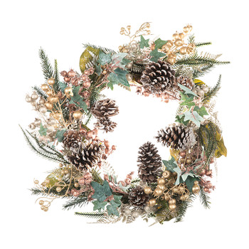 Copper/Gold Fir & Leaf Wreath