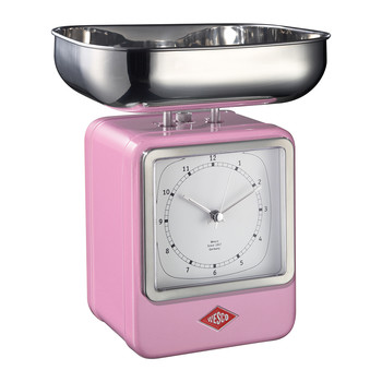 Retro Scale with Clock - Pink