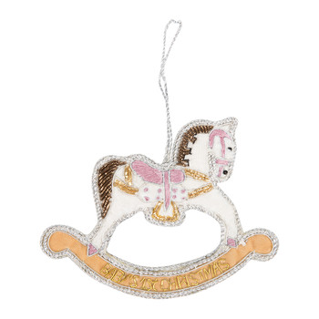 Baby's First Christmas Rocking Horse Tree Decoration - Pink