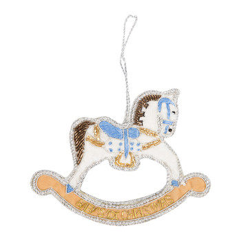 Baby's First Christmas Rocking Horse Tree Decoration - Blue
