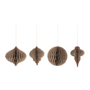 Paper Christmas Decoration - Set of 4 - Brown & Copper - Large