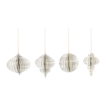 Paper Christmas Decoration - Set of 4 - Printed - Large