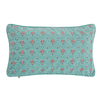 Indian Flower Cushion - 30x50cm - Light Blue