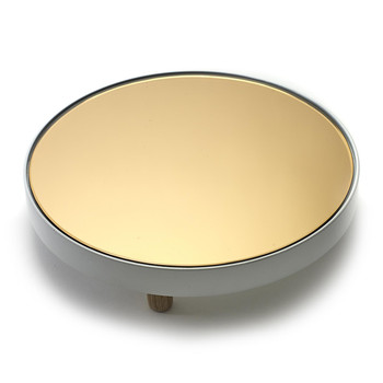 Studio Simple Round Mirror Tray - Gold White