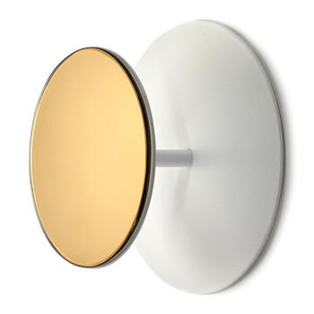 Studio Simple Round Mirrored Coat Hook - White