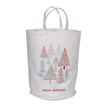 Canvas Christmas Bag - Red/Grey/Mint