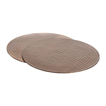 Flat Hammered Copper Placemats - Set of 2