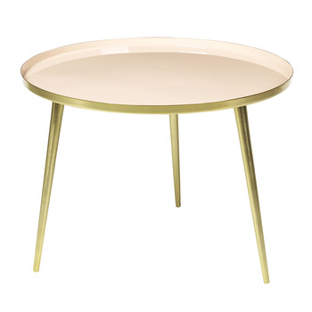 Jelva Side Table - Brass/Linen