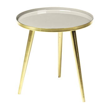 Jelva Side Table - Brass/Taupe