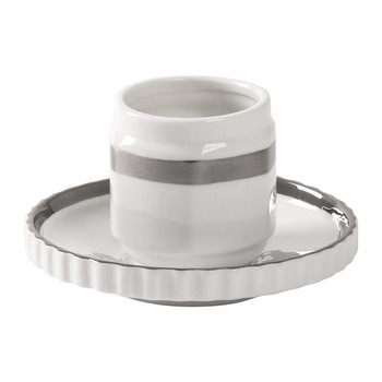 Machine Collection Kaffeetasse und Untertasse - Design 1 Silber