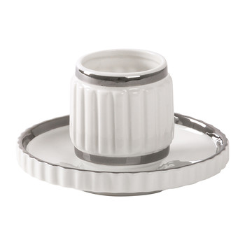 Machine Collection Kaffeetasse und Untertasse - Design 2 Silber