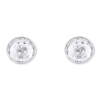 Kinley Crystal Button Earrings - Silver