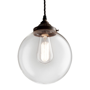 Brown Glass Globe Pendant Light - Extra Large