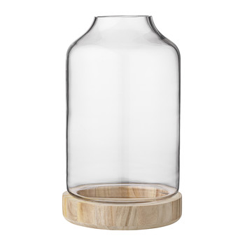 Tall Lantern with Wooden Base