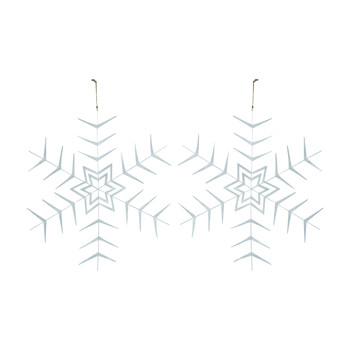 White Star Christmas Hanging Ornament - Set of 2